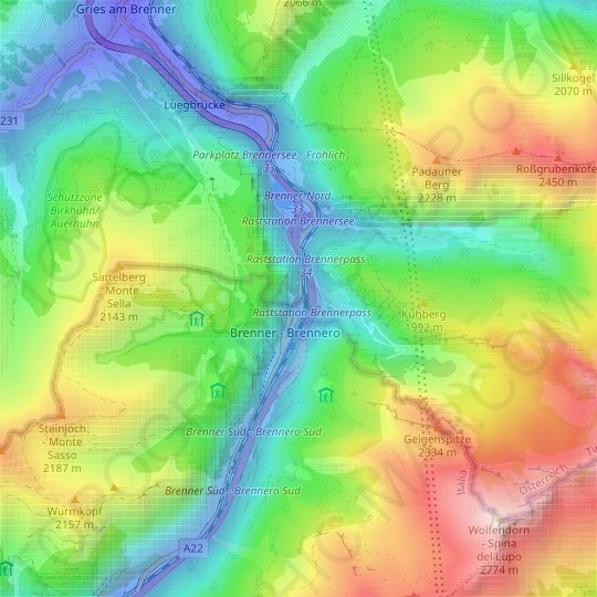 Brenner topographic map, relief map, elevations map