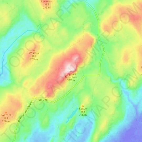 Hogback Mountain topographic map, elevation, relief