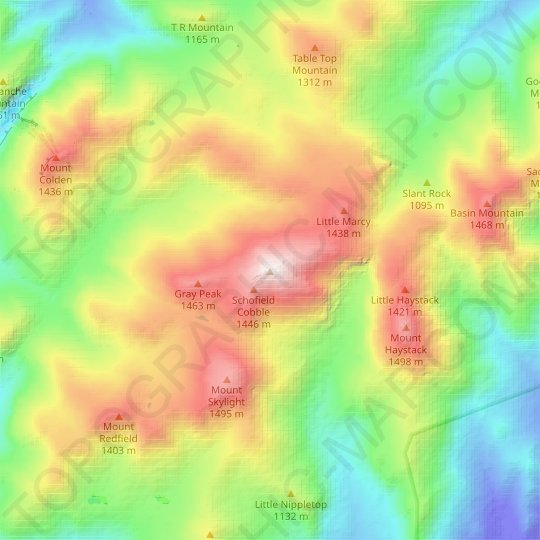 Mount Marcy topographic map, relief map, elevations map