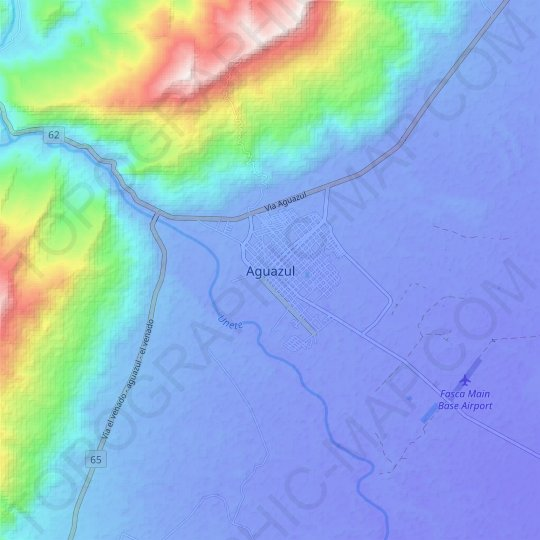 Aguazul topographic map, relief map, elevations map