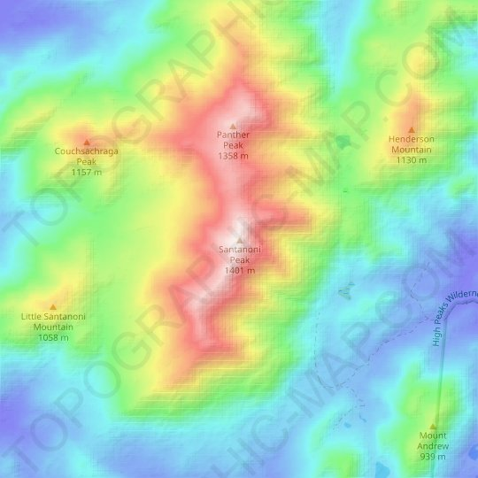 Santanoni Peak topographic map, relief map, elevations map