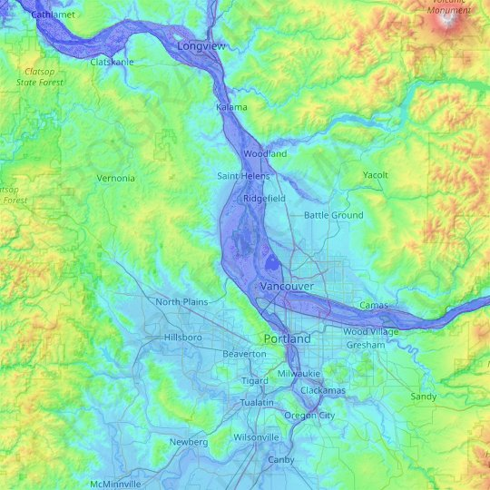 Sauvie Island topographic map, relief map, elevations map