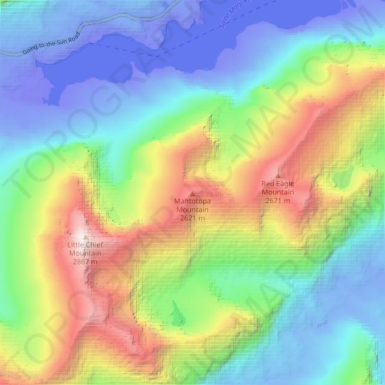 Mahtotopa Mountain topographic map, relief map, elevations map