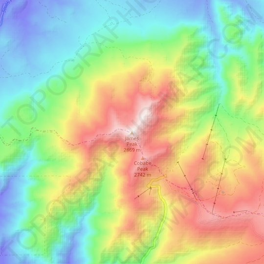 James Peak topographic map, relief map, elevations map