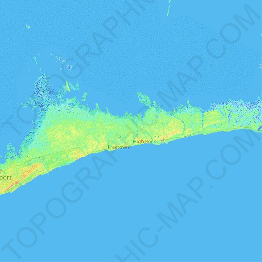 Grand Bahama topographic map, elevation, relief