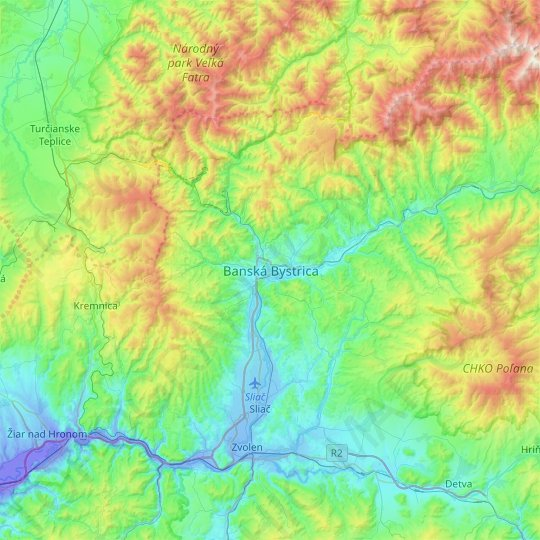 Banská Bystrica topographic map, relief map, elevations map