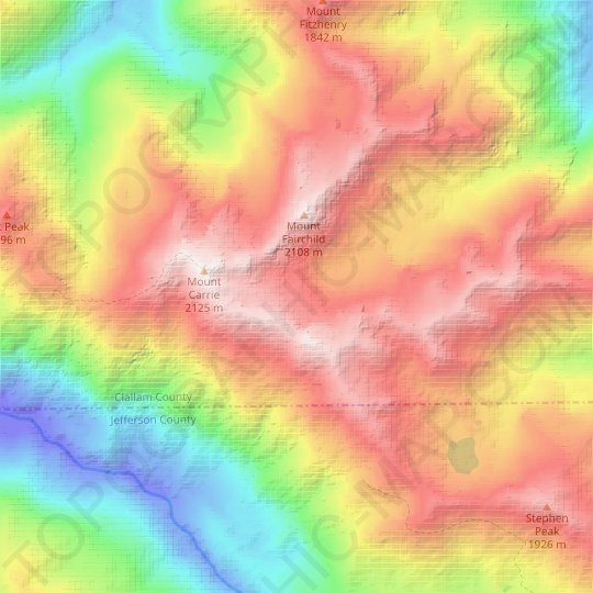 Carrie Glacier topographic map, relief map, elevations map