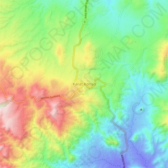 Konso topographic map, relief map, elevations map