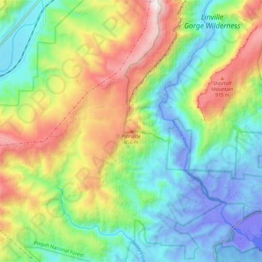 Pinnacle topographic map, relief map, elevations map