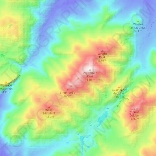 Boundary Peak topographic map, relief map, elevations map