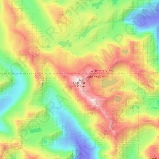 Eagle Cap topographic map, relief map, elevations map