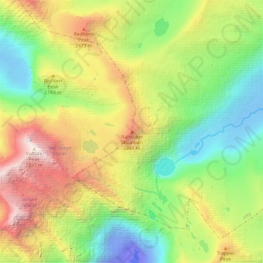 Nahsukin Mountain topographic map, elevation, relief
