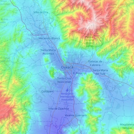 Oaxaca topographic map, relief map, elevations map