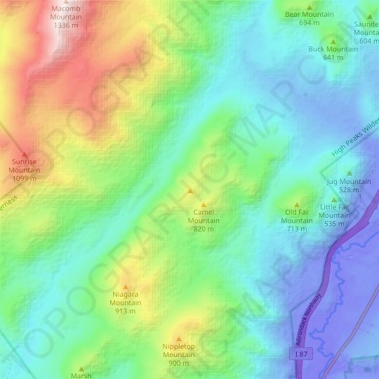 Camels Hump topographic map, relief map, elevations map
