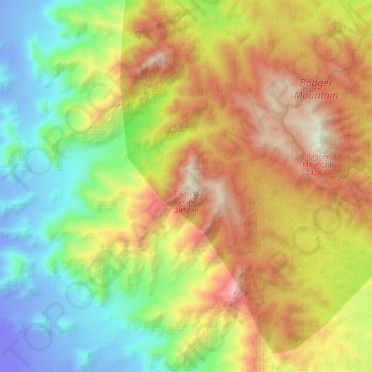 Tikaboo Peak topographic map, elevation, relief