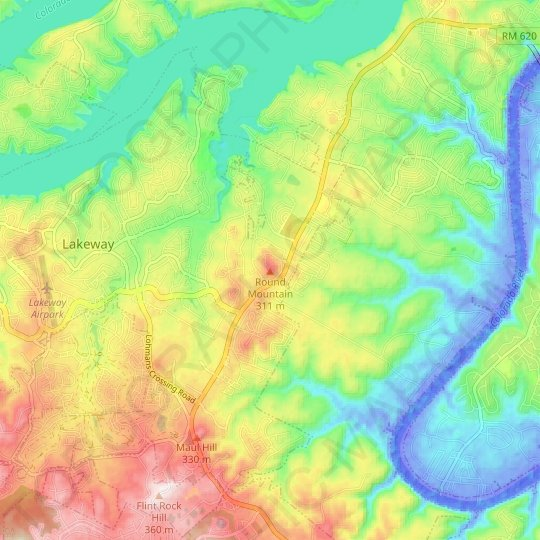 Round Mountain topographic map, elevation, relief