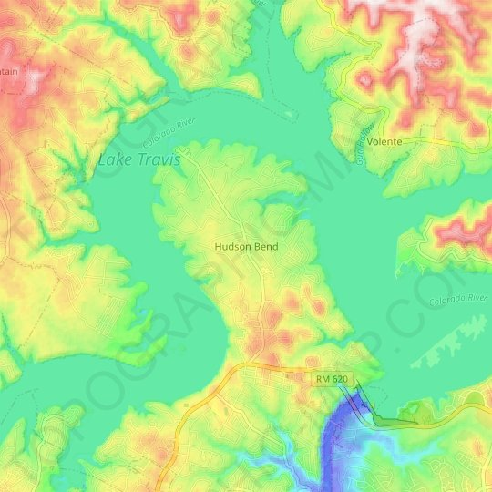 Hudson Bend topographic map, elevation, relief