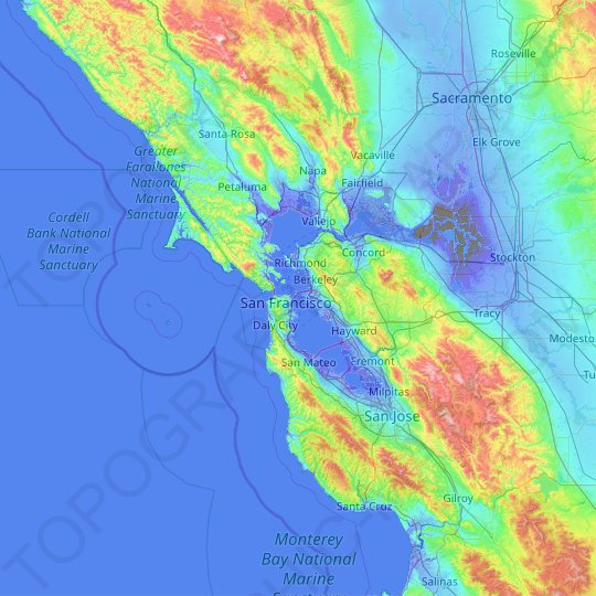 San Francisco Bay Area Topographic Map Elevation Relief This page describes how water depths can be determined and used for a nautical chart. topographic maps