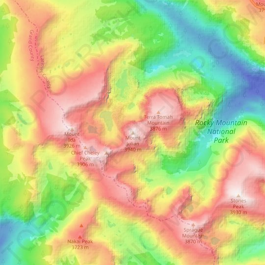 Mount Julian topographic map, relief map, elevations map