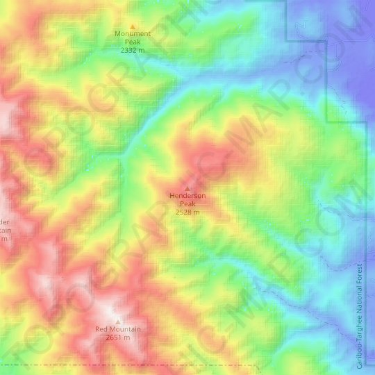 Henderson Peak topographic map, elevation, relief
