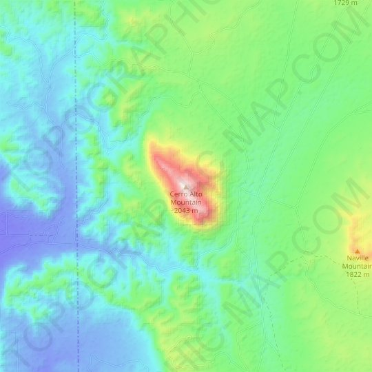 Cerro Alto Mountain topographic map, relief map, elevations map