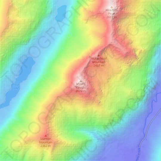 Mount Vaught topographic map, relief map, elevations map