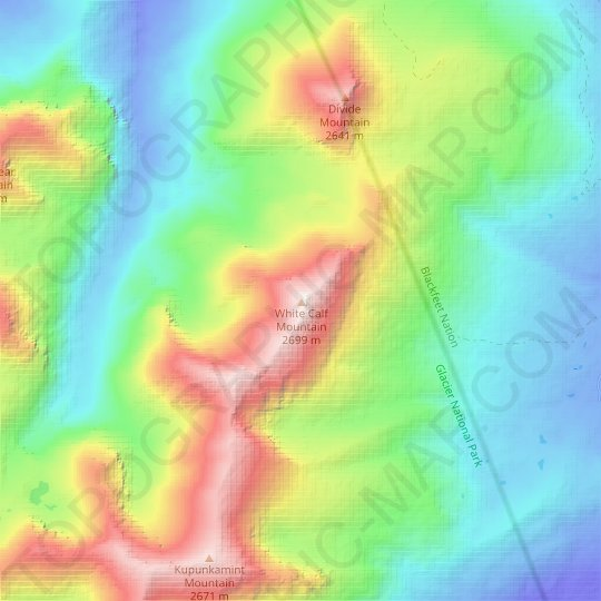 White Calf Mountain topographic map, elevation, relief