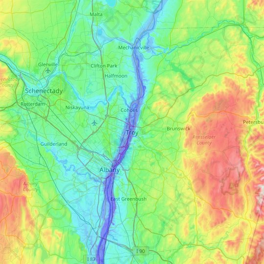 Troy topographic map, elevation, relief