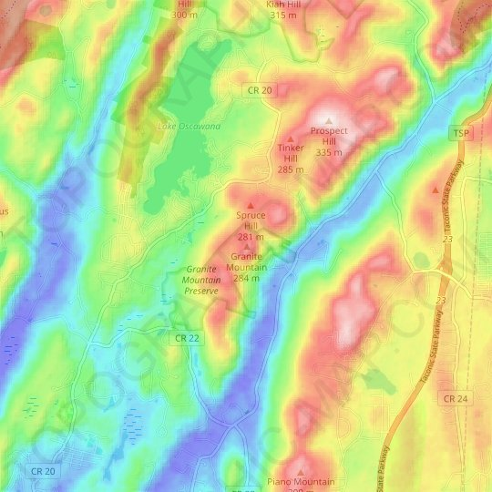 Granite Mountain topographic map, relief map, elevations map