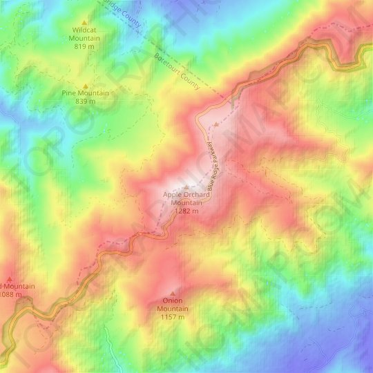 Apple Orchard Mountain topographic map, relief map, elevations map