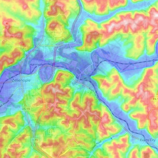 Harmony Junction topographic map, elevation, relief