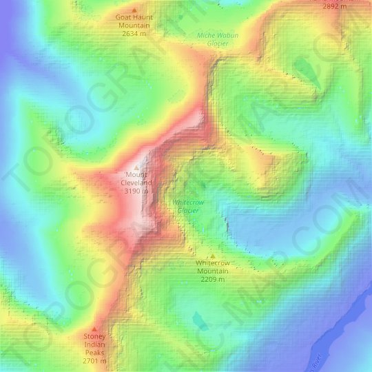 Whitecrow Glacier topographic map, elevation, relief