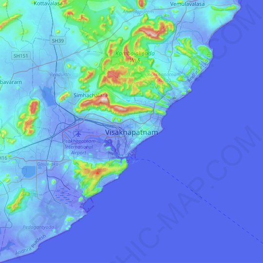 Visakhapatnam topographic map, relief map, elevations map