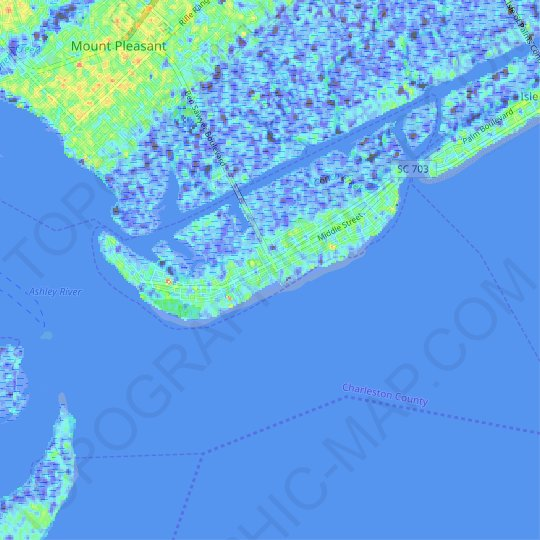 Sullivans Island topographic map, relief map, elevations map