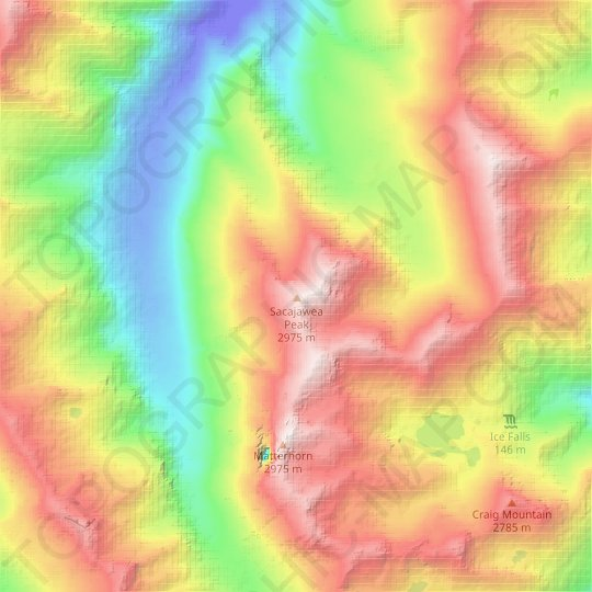 Sacajawea Peak topographic map, relief map, elevations map