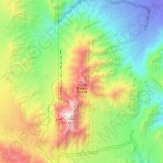 Devils Thumb topographic map, elevation, relief