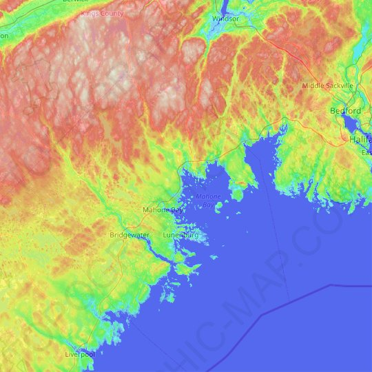 Oak Island topographic map, relief map, elevations map