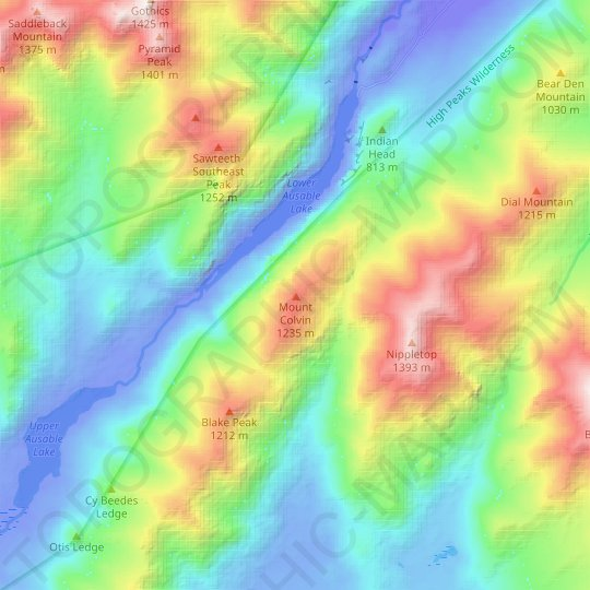 Mount Colvin topographic map, relief map, elevations map