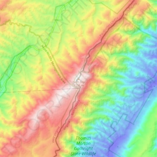 High Top topographic map, elevation, relief