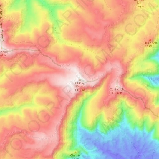 Grassy Knob topographic map, relief map, elevations map