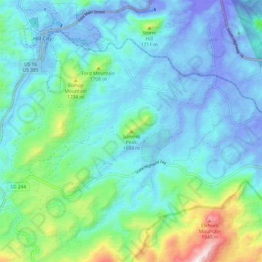 Summit Peak topographic map, relief map, elevations map