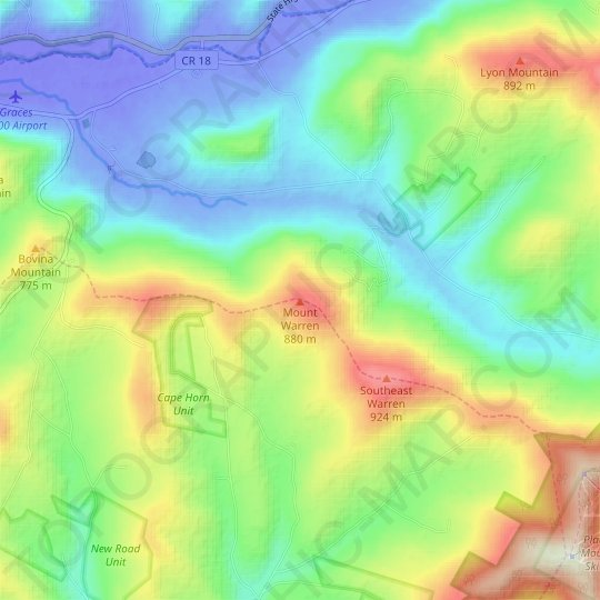 Mount Warren topographic map, elevation, relief