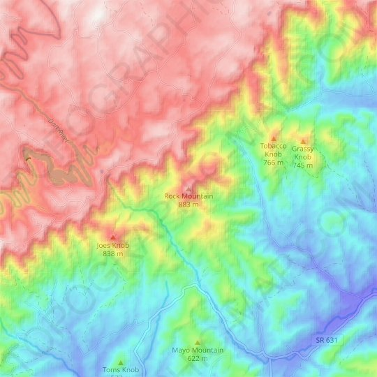 Rock Mountain topographic map, relief map, elevations map