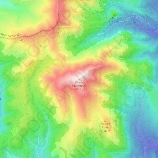 Mount Silverheels topographic map, relief map, elevations map