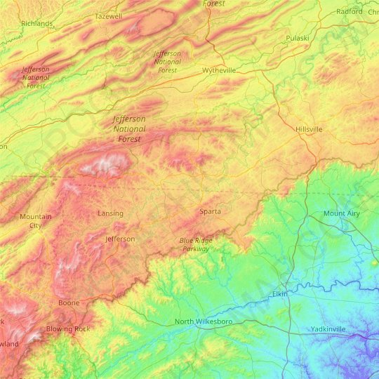 Mountain Island topographic map, relief map, elevations map