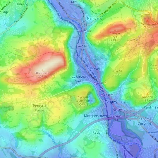 Gwaelod-Y-Garth topographic map, relief map, elevations map