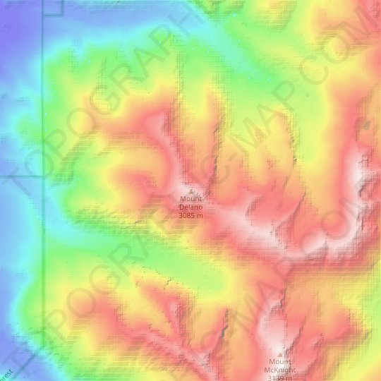 Mount Delano topographic map, relief map, elevations map