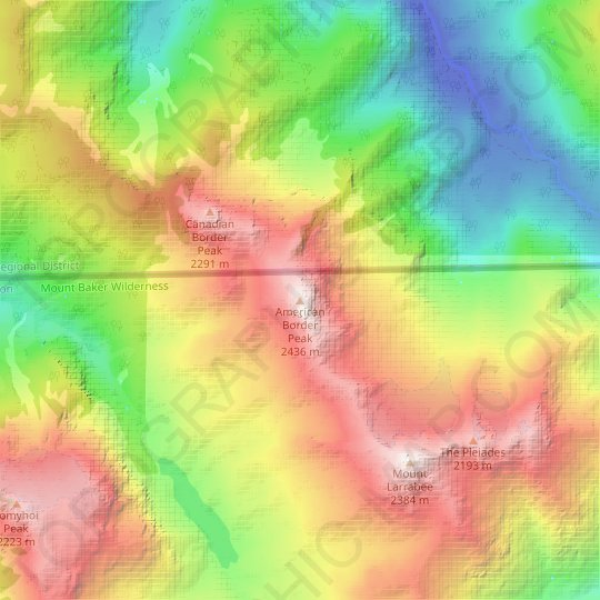 American Border Peak topographic map, relief map, elevations map
