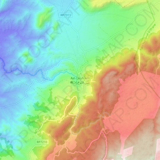 Ain Leuh topographic map, relief map, elevations map