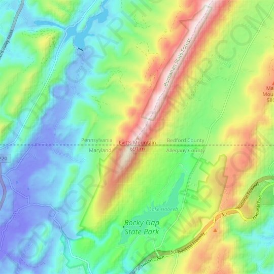 Evitts Mountain topographic map, relief map, elevations map